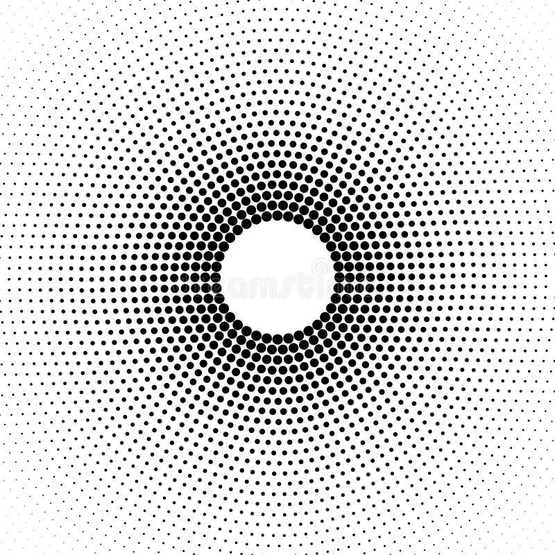 Puntos de semitono negros circulares del extracto en el fondo blanco ilustración del vector