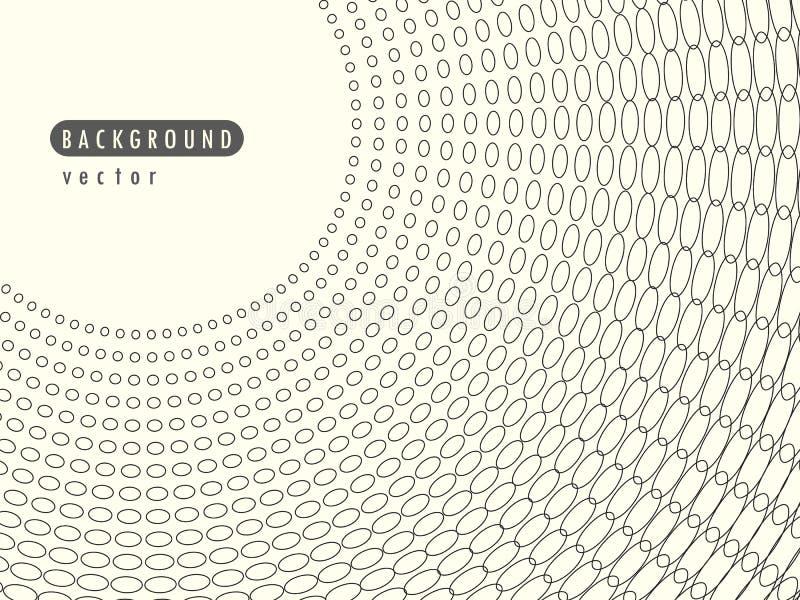 Puntos de semitono retros radiales del extracto del vector Elemento en la bandera cubierta Puntos negros, círculos en un fondo ai libre illustration