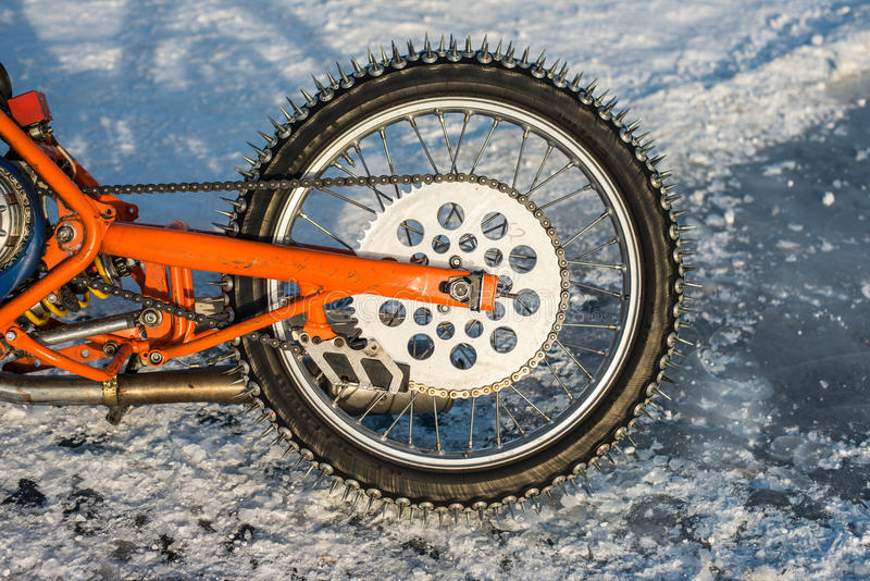 Puntos de una moto del carretera del hielo fotos de archivo libres de regalías