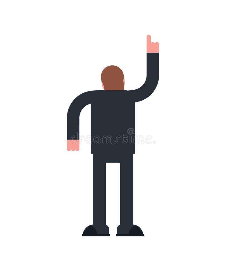 Puntos del hombre encima de la mano El individuo retrocede Ilustraci?n del vector ilustración del vector