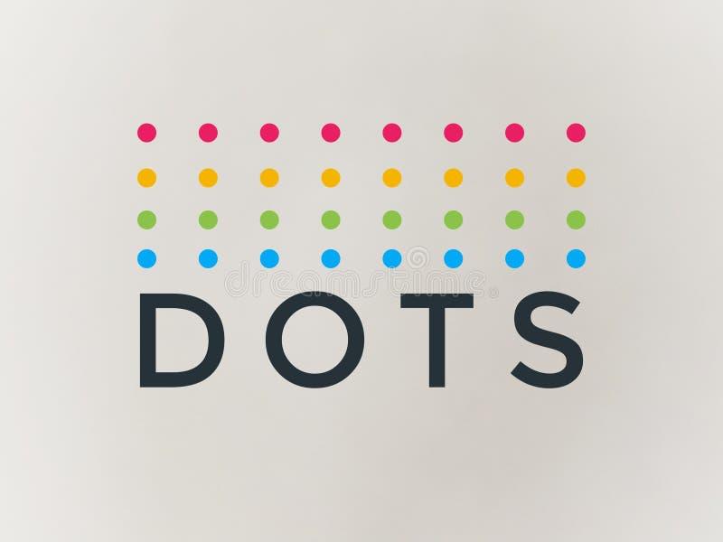 Puntos del logotipo de la compañía en multicolor hermoso stock de ilustración