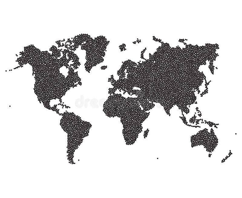 Puntos del mapa del mundo abstraiga el fondo Ilustración del vector stock de ilustración
