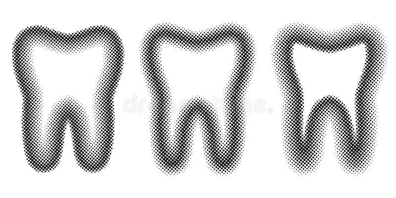Puntos determinados efecto de semitono, tono medio molar del diente de los dientes de la plantilla del vector para la clínica den stock de ilustración