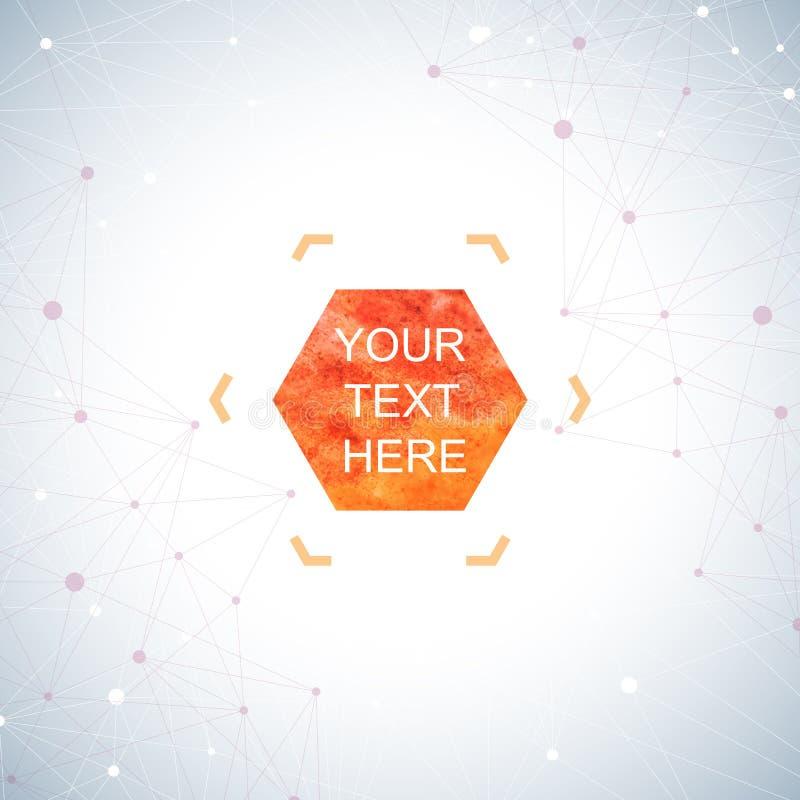 Puntos gráficos del fondo con las conexiones El hexágono de la acuarela forma para su texto y diseño Ilustración del vector stock de ilustración