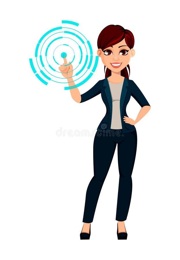 Puntos hermosos de la mujer de negocios del womanYoung hermoso joven del negocio en la proyección olográfica stock de ilustración