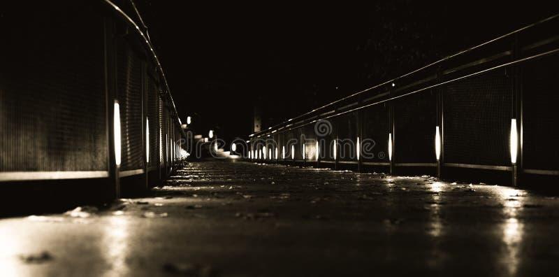 Puntos ligeros hermosos en un pequeño puente en Graz en la noche con algo de follaje en otoño fotos de archivo