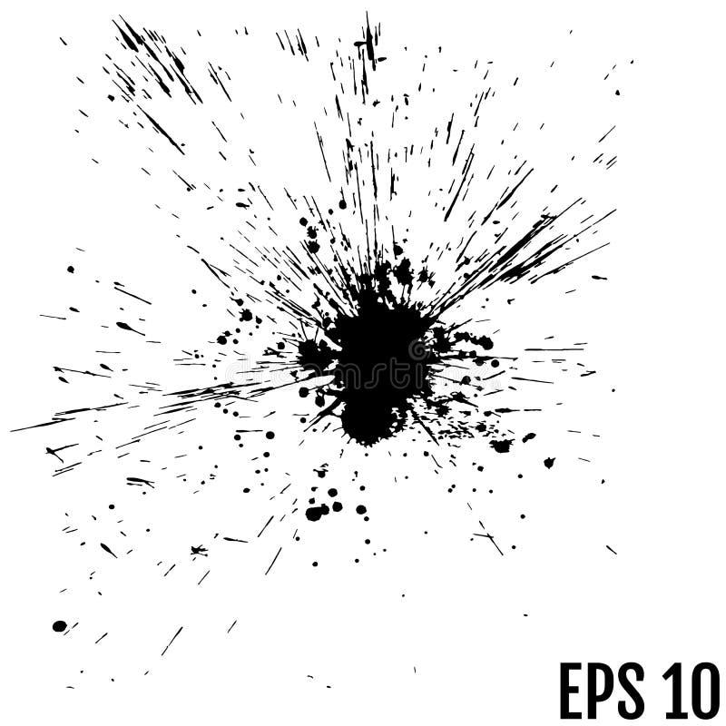 Puntos negros de la pintura de la tinta Los descensos texturizan aislado en el backgroun blanco ilustración del vector