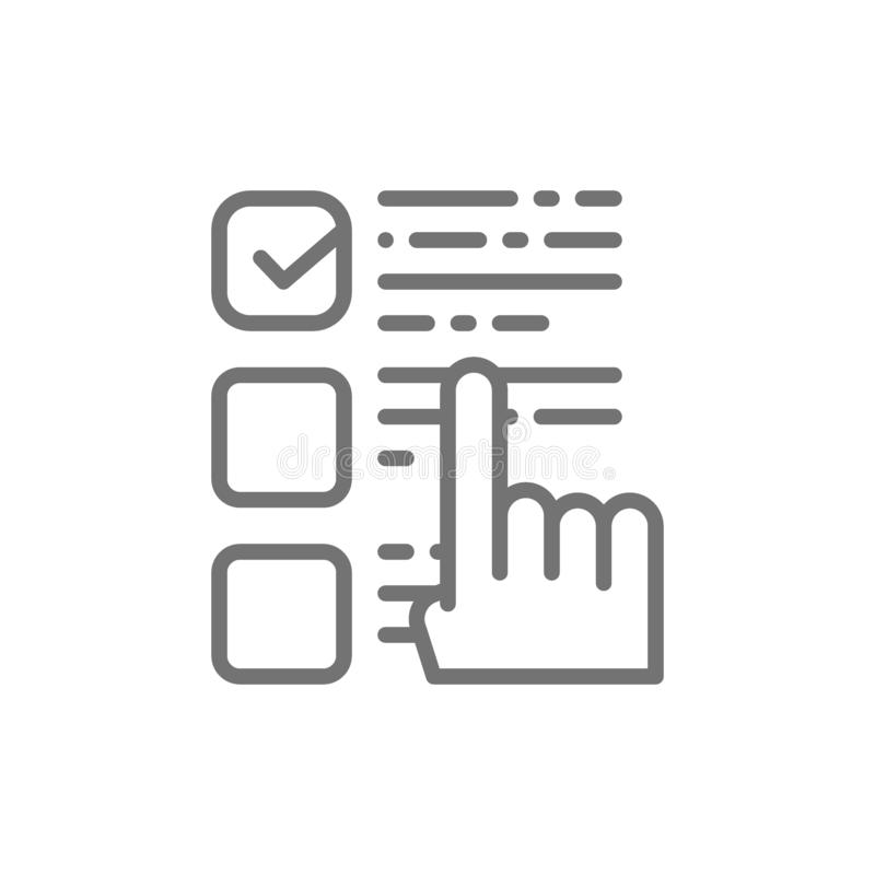 Puntos a una opción, marca de verificación del finger en la votación, línea icono de la lista de control de la elección stock de ilustración