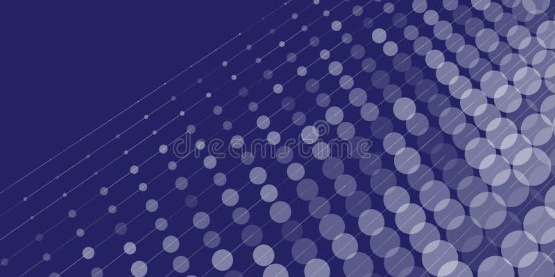 Puntos y líneas fondo azul abstracto stock de ilustración