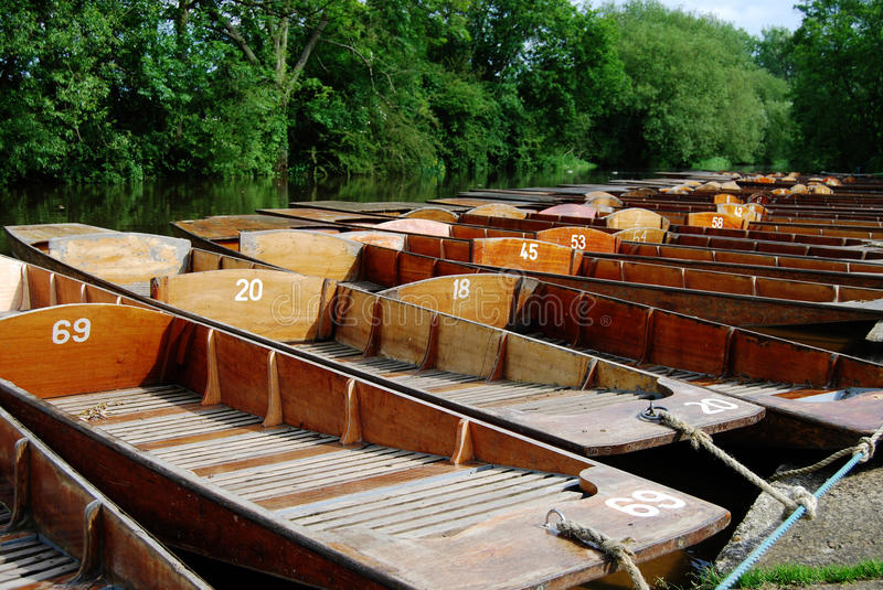 Punts at Cherwell Boathouse. Punts tied up outside the Cherwell Boathouse, Oxford, England stock images