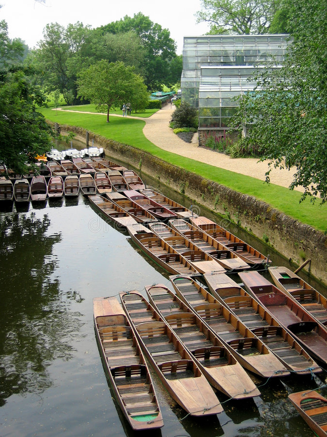 Punts on the river. Punts tied up on the river Cherwell, Oxford, UK royalty free stock photos