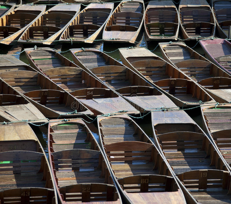 Punts. Tied up on the river isis or thames stock photos