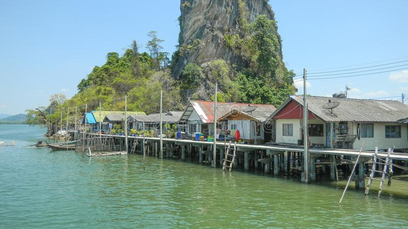Punyi-Insel oder Koh Panyee, moslemische Dorfreise durch Boot in Phangnga-Bucht, Thailand stockfoto
