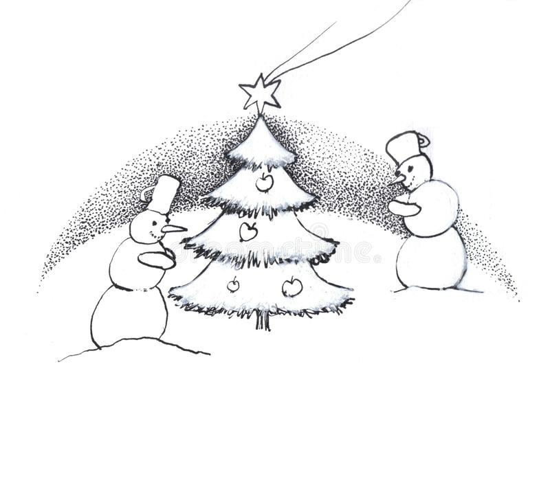 Pupazzi di neve all'albero di Natale fotografia stock libera da diritti