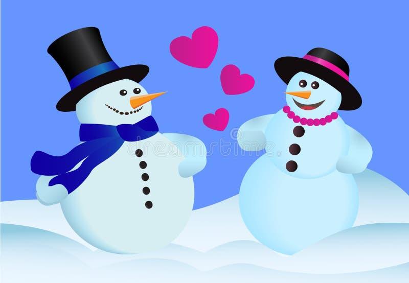 Pupazzi di neve di amore illustrazione vettoriale