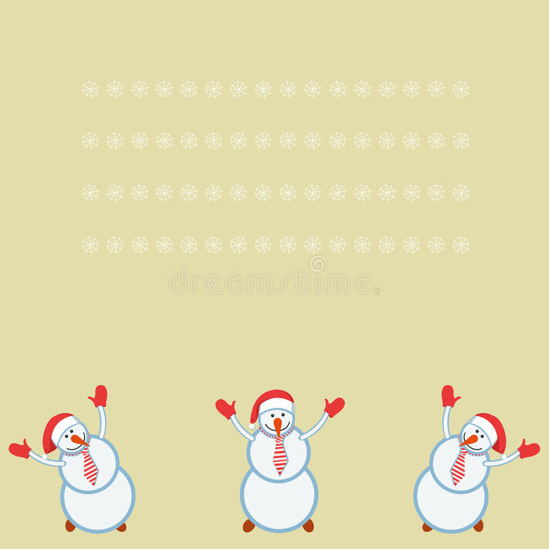 Pupazzi di neve divertenti della carta tre felici illustrazione di stock