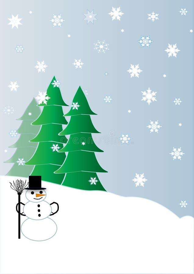Pupazzi di neve ed alberi di Chrismas illustrazione vettoriale
