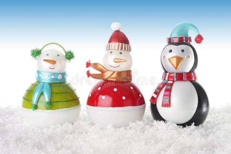 Pupazzi di neve felici fotografie stock libere da diritti
