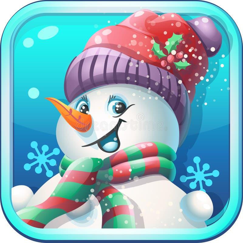 Pupazzo di neve allegro dell'icona in cappuccio per il gioco di computer royalty illustrazione gratis