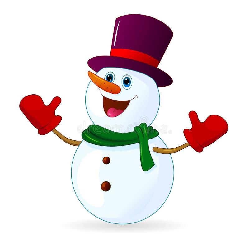 Pupazzo di neve allegro sveglio illustrazione di stock