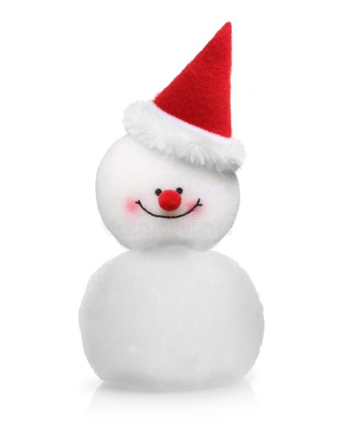 Pupazzo di neve in cappello rosso isolato immagine stock libera da diritti