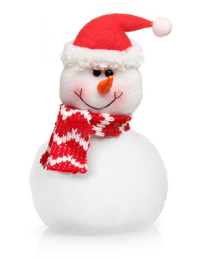 Pupazzo di neve in cappello rosso isolato immagini stock libere da diritti