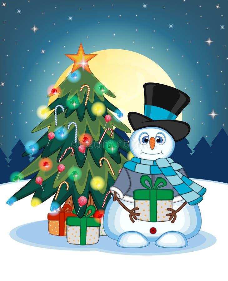 Pupazzo di neve che porta un regalo che indossa un cappello, un maglione blu e una sciarpa blu con l'albero di Natale e luna pien illustrazione vettoriale
