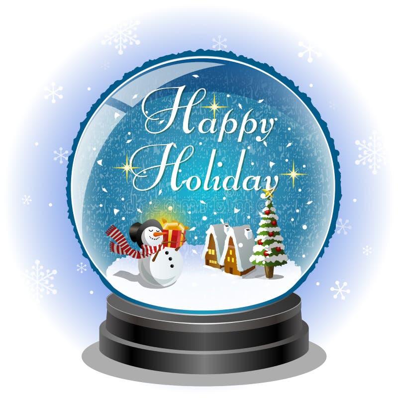 Pupazzo di neve che tiene un contenitore di regalo in globo della neve royalty illustrazione gratis