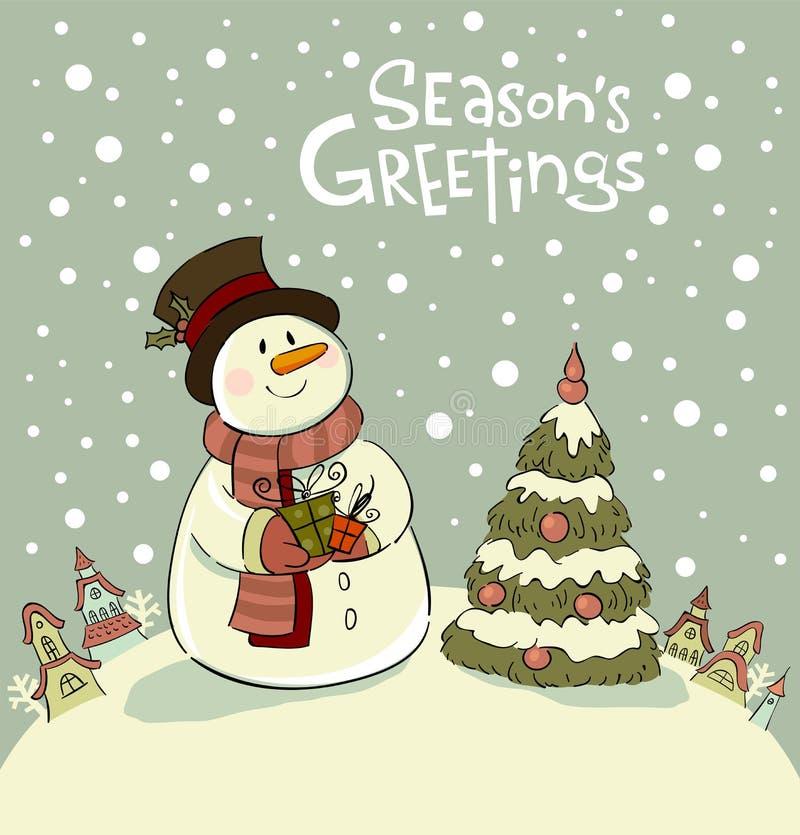 Pupazzo di neve con i regali al lato dell'albero di Natale illustrazione vettoriale