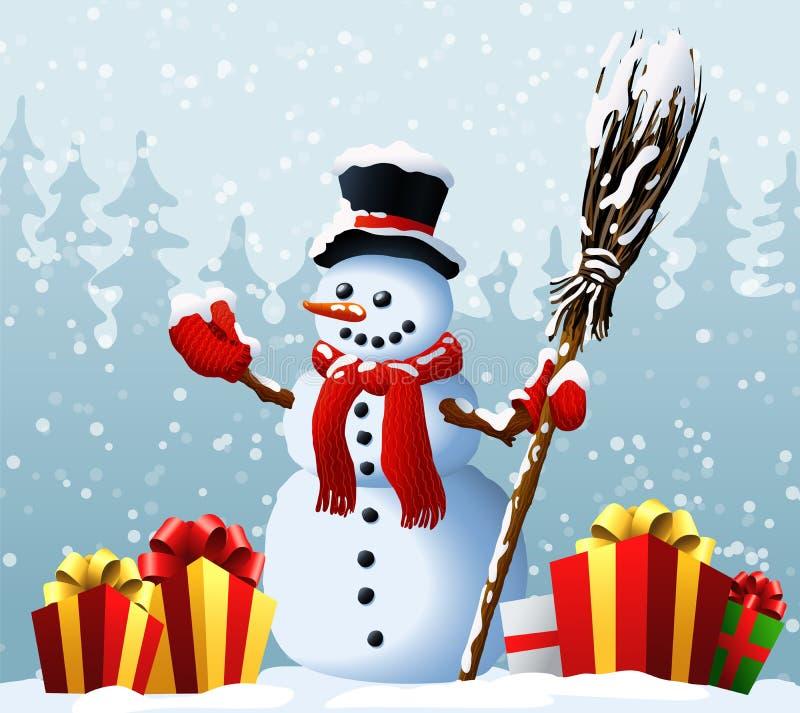Pupazzo di neve con i regali di Natale contro lo sfondo del Natale e del nuovo anno di una foresta di inverno Illustrazione di ve illustrazione vettoriale