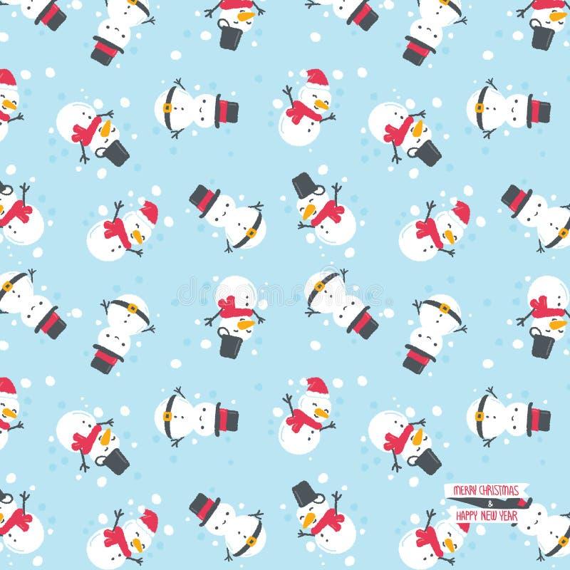 Pupazzo di neve con il fondo di inverno royalty illustrazione gratis