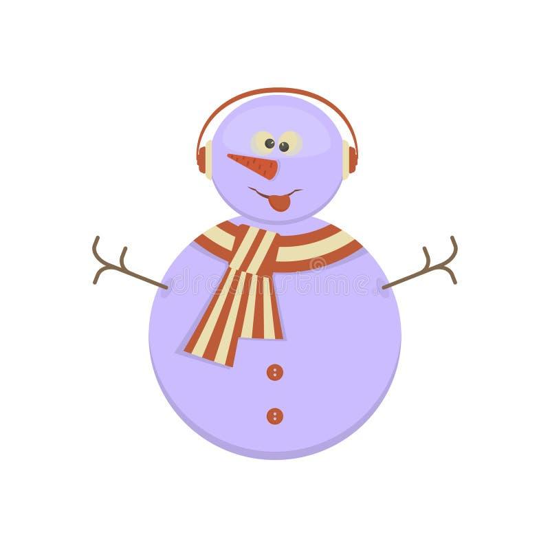 Pupazzo di neve con il fronte divertente illustrazione di stock