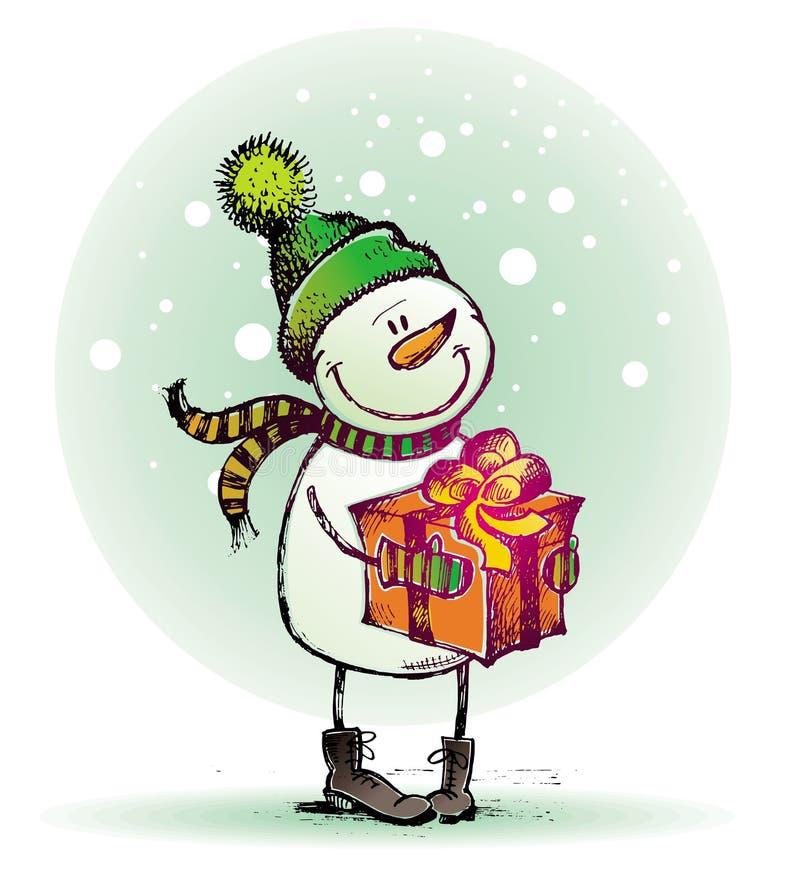 Pupazzo di neve con il regalo illustrazione di stock