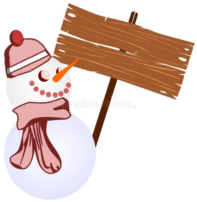 Pupazzo di neve con il segnale di inverno illustrazione di stock