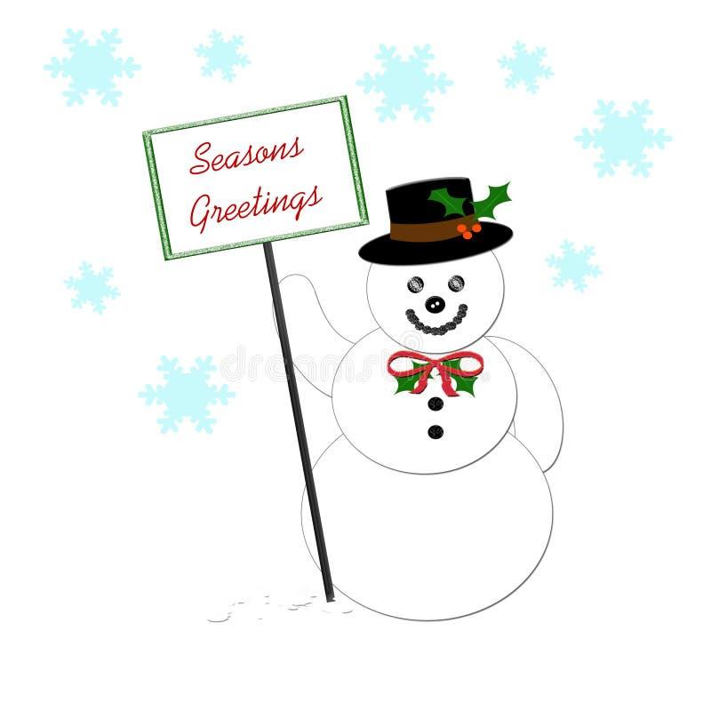 Pupazzo di neve con il segno royalty illustrazione gratis