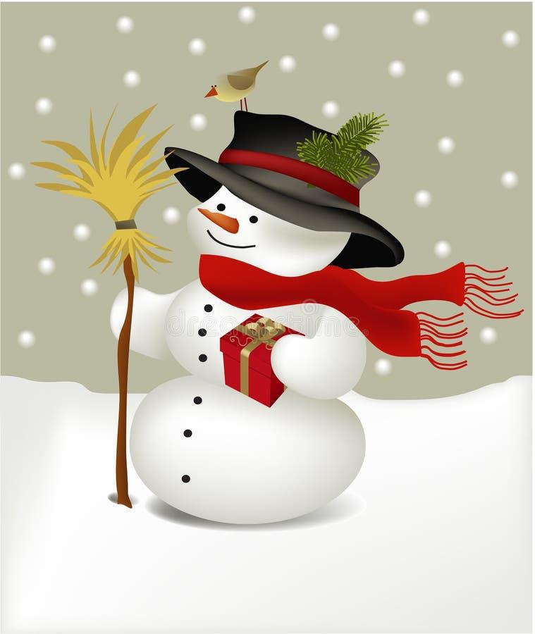 Pupazzo di neve con l'uccello illustrazione di stock