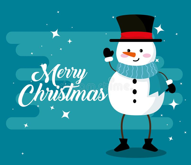 Pupazzo di neve con le armi e gambe al Buon Natale illustrazione di stock