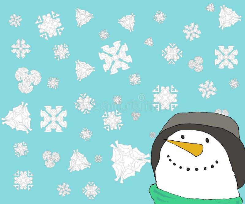 Pupazzo di neve con neve illustrazione di stock