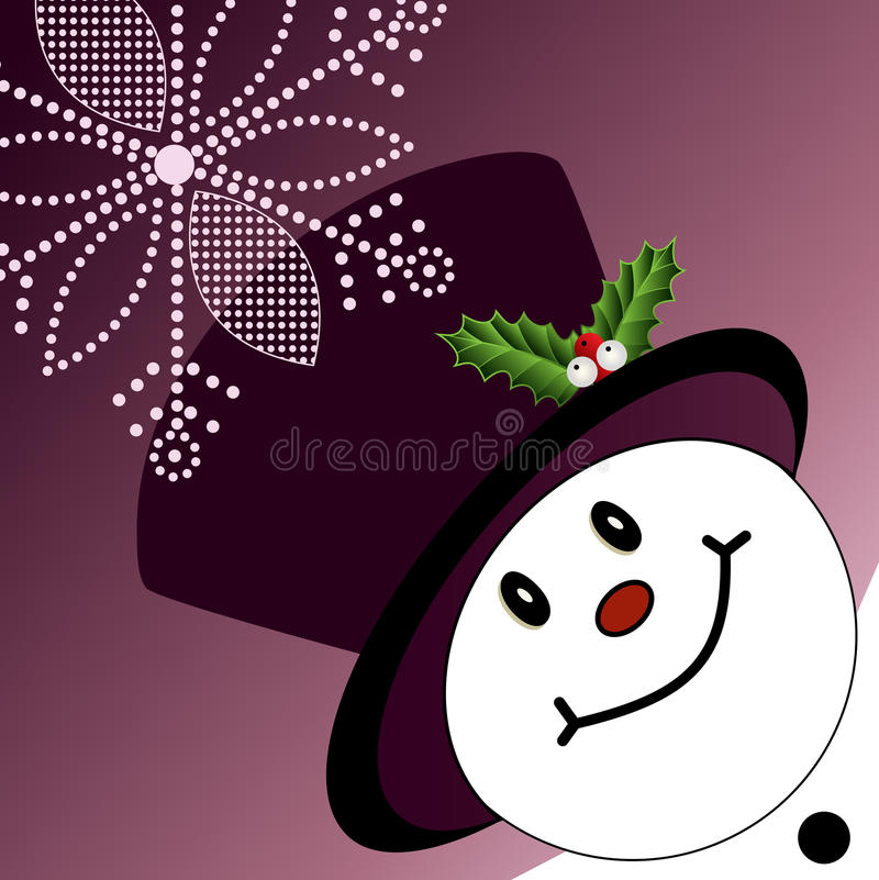 Pupazzo di neve d'angolo con tophat illustrazione di stock