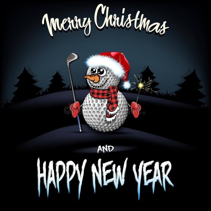 Pupazzo di neve dalle palle da golf con il putter e le stelle filante royalty illustrazione gratis