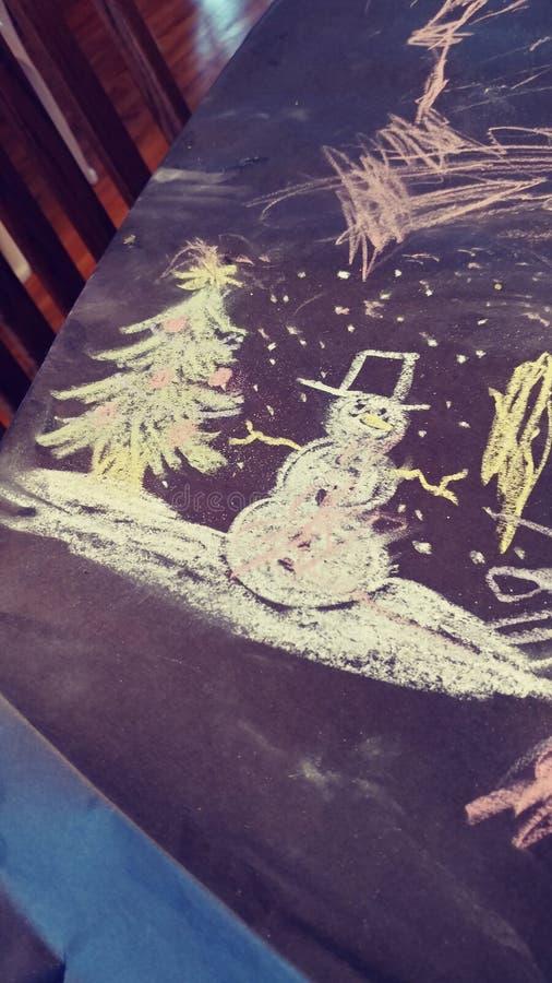 Pupazzo di neve del disegno di gesso fotografia stock libera da diritti
