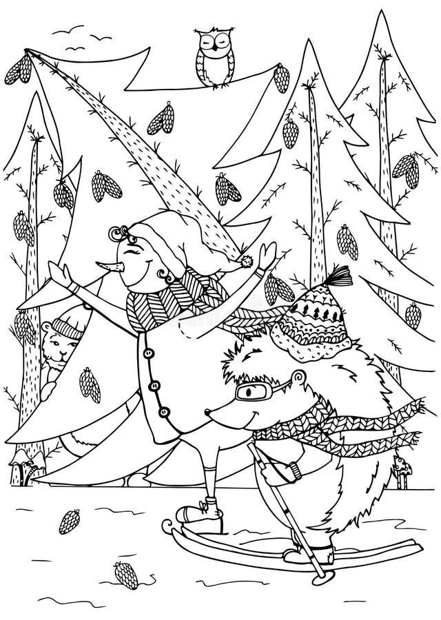 Pupazzo di neve dell'illustrazione di scarabocchio e pattino dell'istrice Nuovo anno Vettore illustrazione di stock