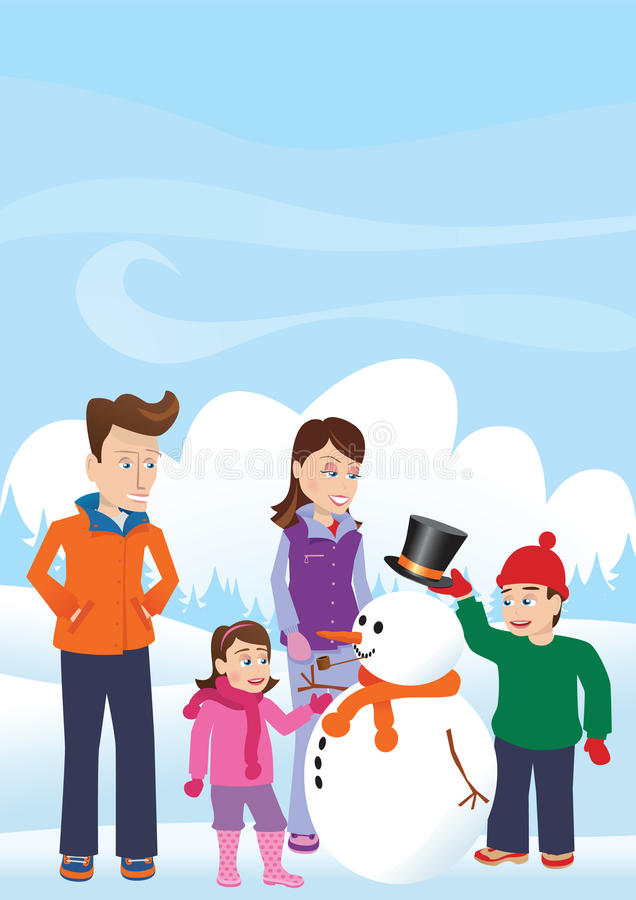 Pupazzo di neve della costruzione della famiglia royalty illustrazione gratis
