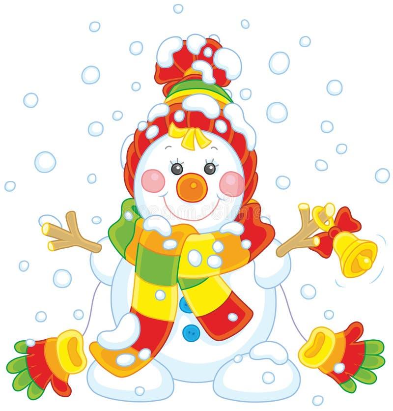 Pupazzo di neve di Natale con una campana illustrazione vettoriale