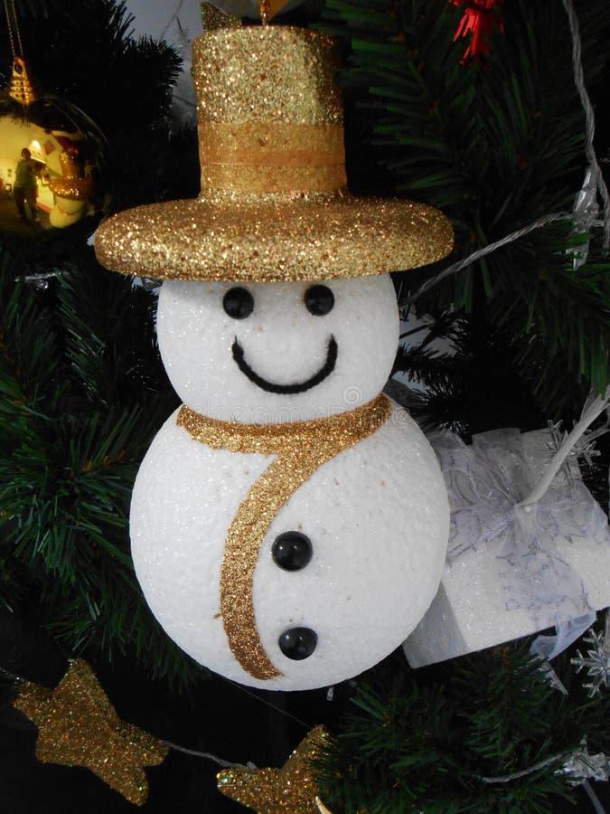 Pupazzo di neve di Natale di sorriso con il cappello dell'oro fotografia stock libera da diritti