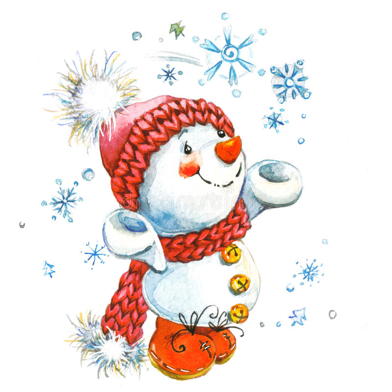 Pupazzo di neve di nuovo anno e decorazione di Natale Illustrazione dell'acquerello illustrazione vettoriale
