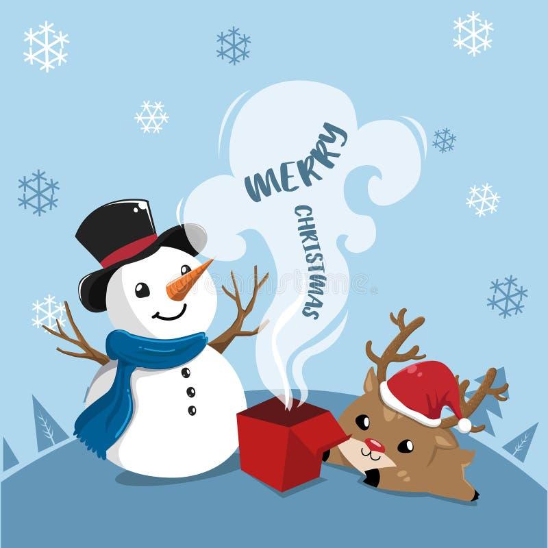 Pupazzo di neve e cervi felici nel giorno di Natale illustrazione di stock