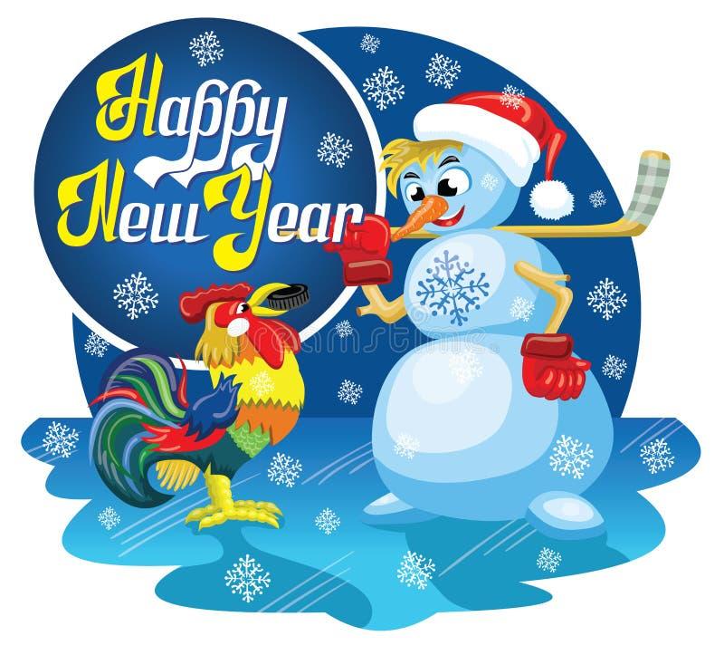 Pupazzo di neve e gallo illustrazione di stock
