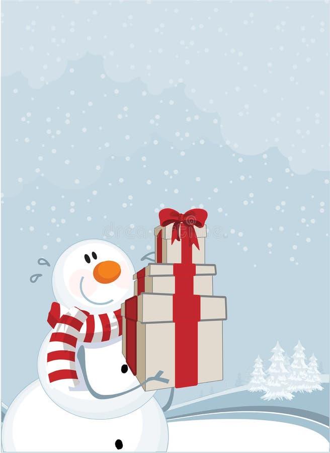 Pupazzo di neve e presente di inverno illustrazione di stock
