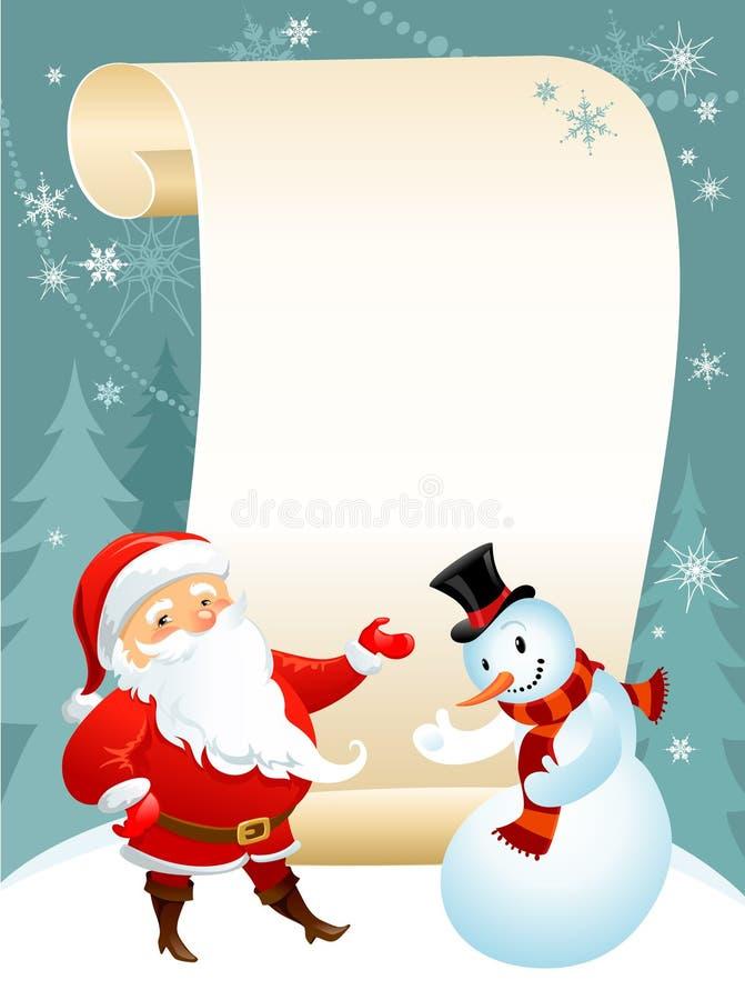 Pupazzo di neve e Santa illustrazione di stock